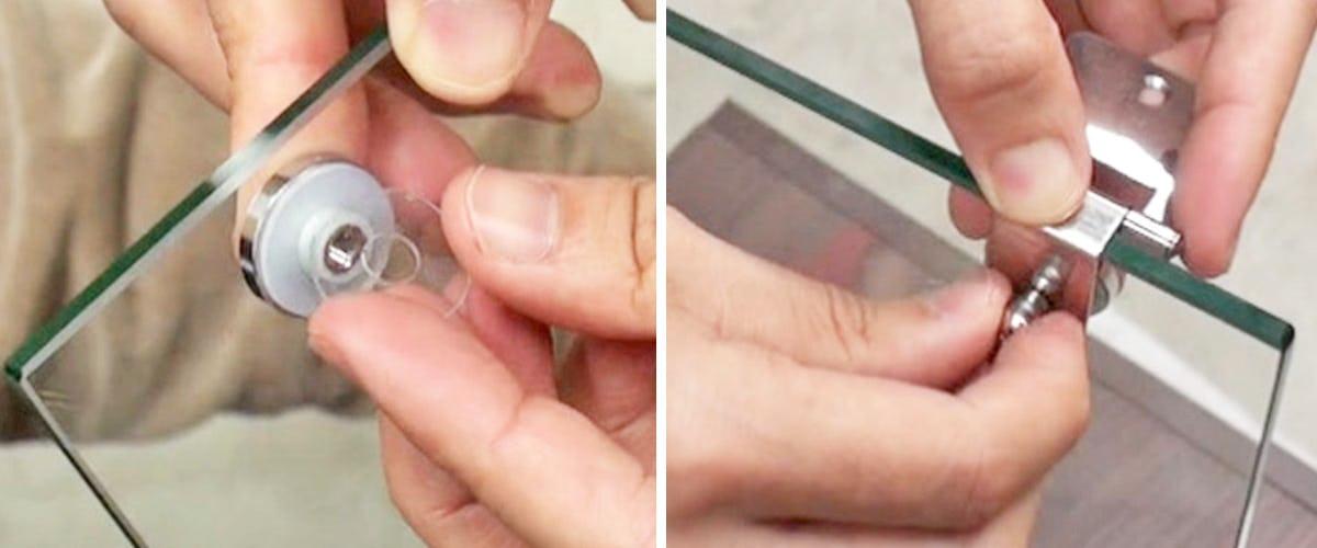 2. 丁番本体をガラスに固定する