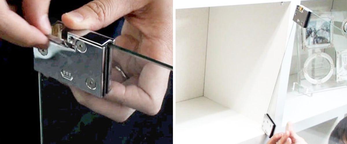 8. ガラス扉を軸に取付ける