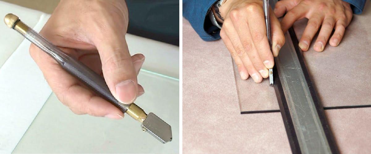 2.ガラスカッターで傷を付ける