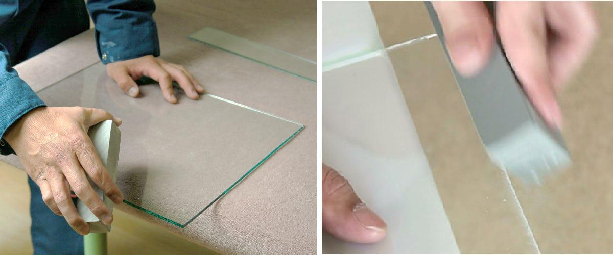 4.ガラス用の砥石で角を削る