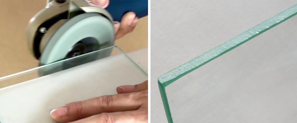 2.#180番でガラスの側面を磨く