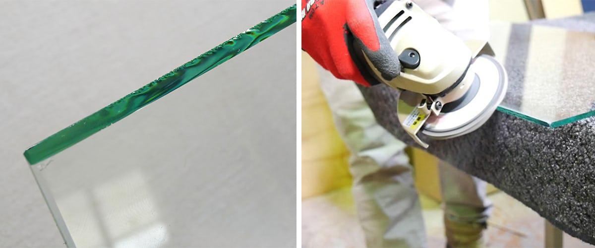 ガラスの側面(小口)を磨くにはグラインダーを使用します