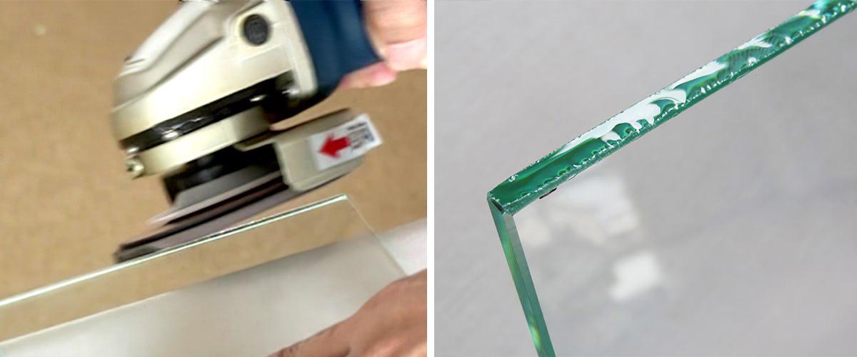 鋭い切断面をなぞるようにガラスの角を落とします
