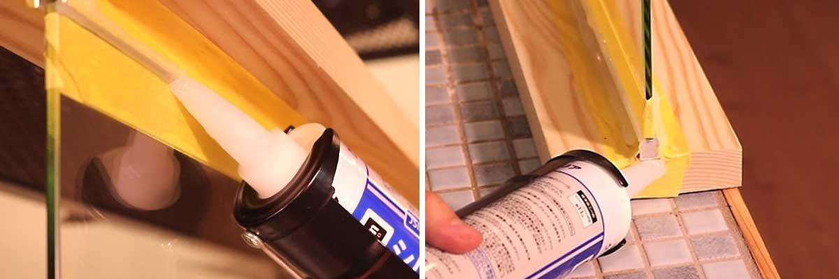 6. コの字アングルとガラスの隙間にシリコンを打ち込む
