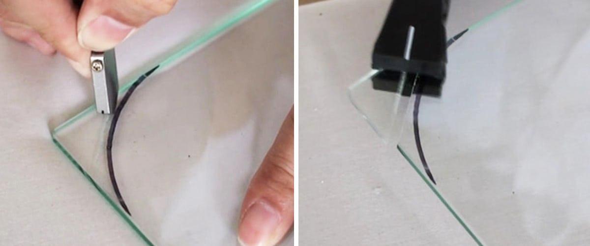 1. ガラスカッターで角を切断する