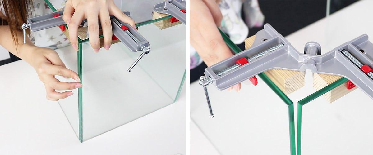 2.ガラスをクランプで固定する