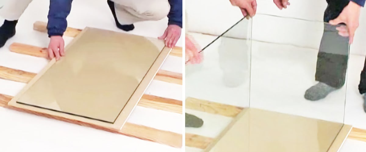 1.ガラスを水槽の形に組上げる