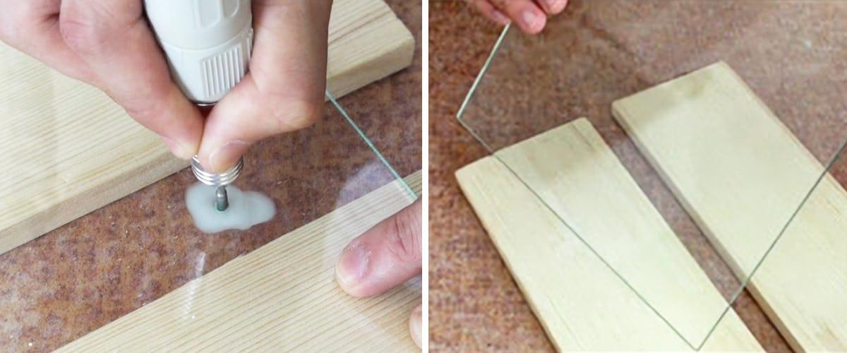 3. ガラスの半分まで穴が空いたら裏返す