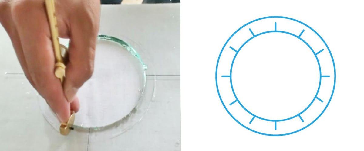 7. 内側の円と外側の円の間にカッターで傷をつける