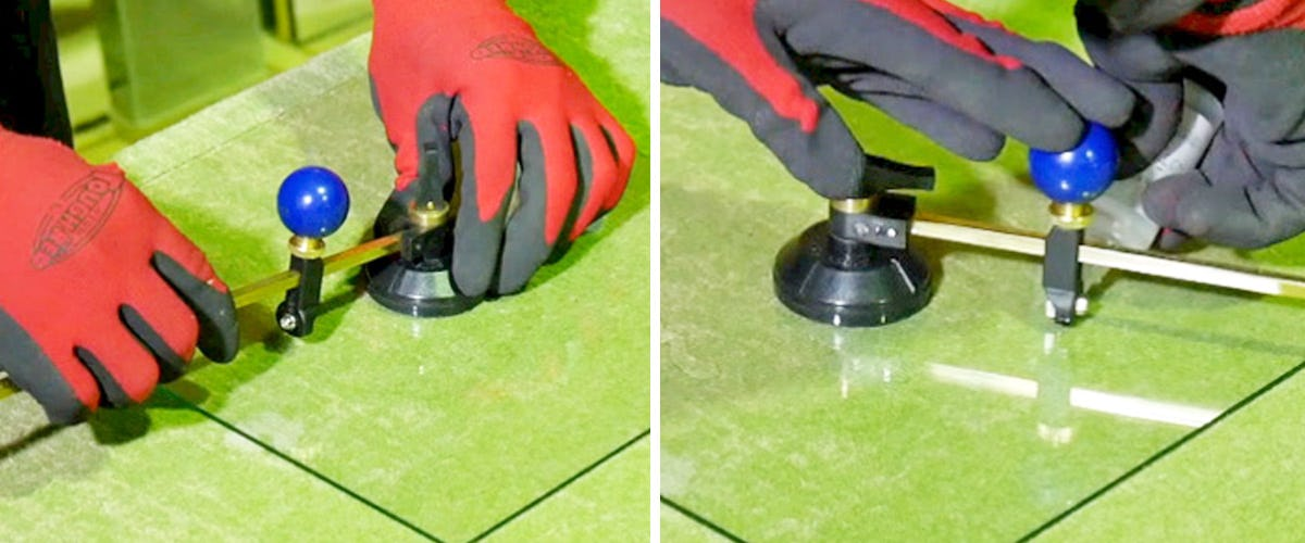 1. サークルカッターをガラスに固定する