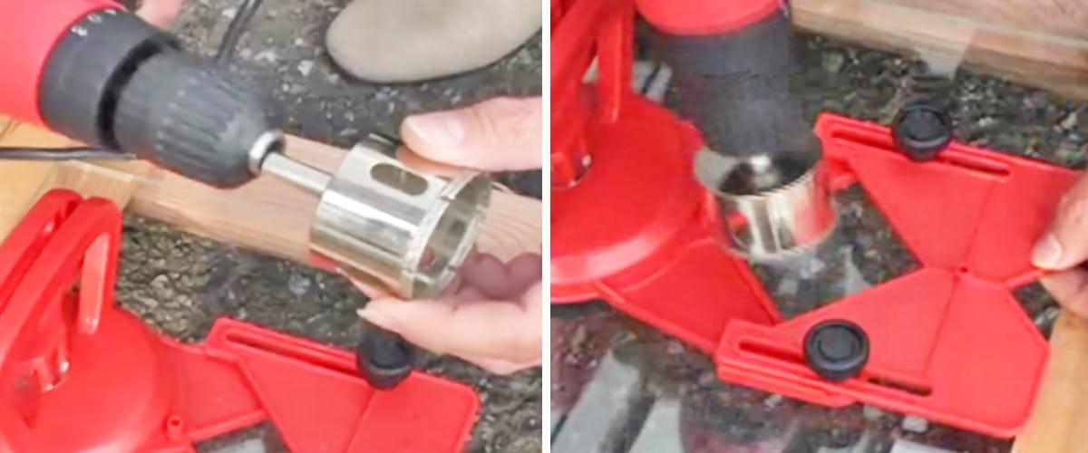 2. 電動ドリルにダイヤモンドコアドリルを装着する