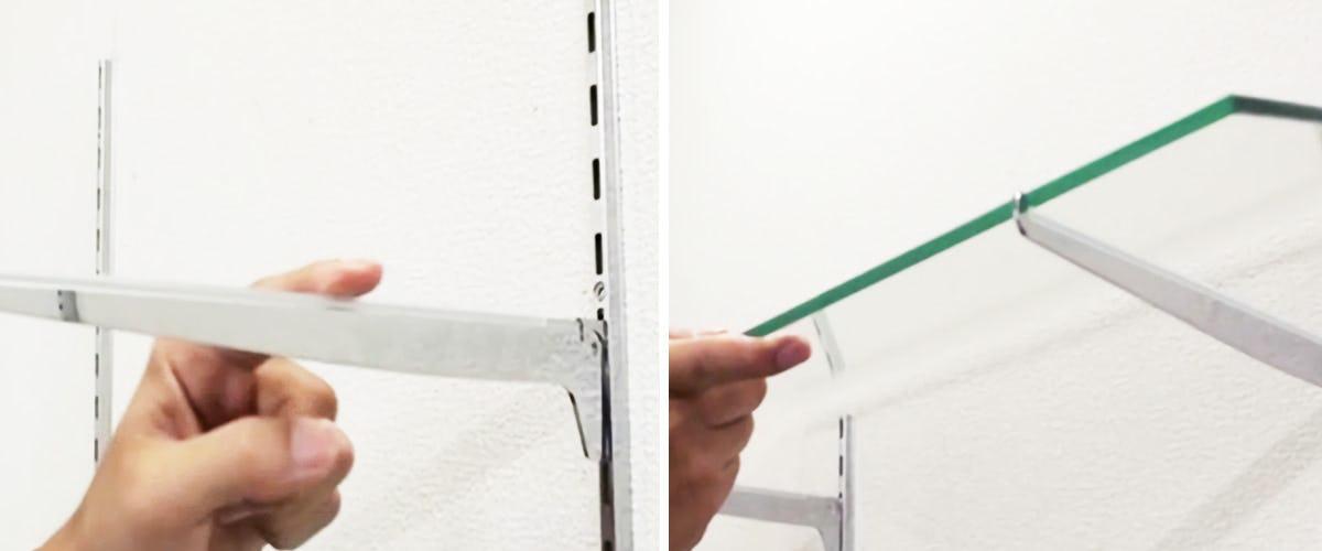 4. ガラス棚板を棚受けの上にのせる