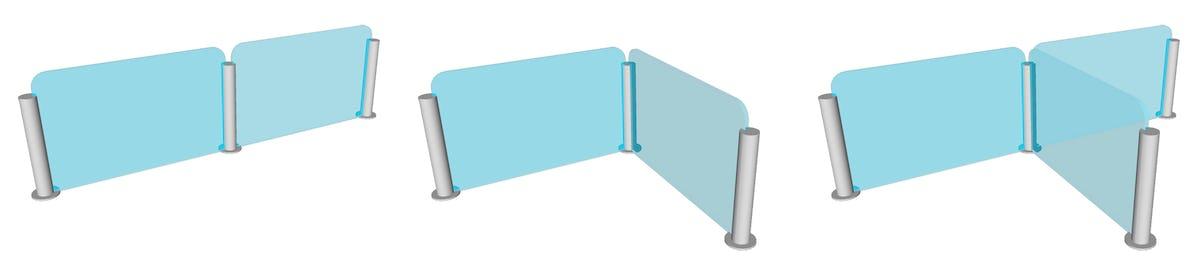 ガラス間仕切りポールを使った間仕切りのバリエーション 直線型 L字型 T字型
